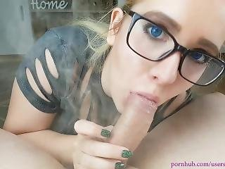 Stoner Teen With Beautiful Blue Eyes Gives Pov Blowjob While Smoking Joint