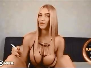 Sexy Busty Smoking Blonde Toy Fuckz Ass ~ ???�????�??