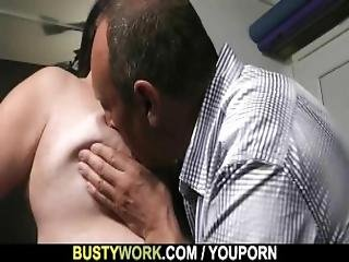 Busty Lady In Fishnets Rides His Cock After Blowjob