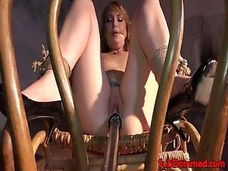Restrained Bdsm Sub Rocks Chair To Fuck Dildo