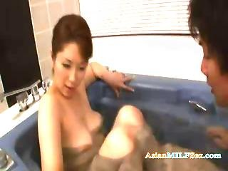 Busty Milf Sucking Young Guy Cock Getting Her Hairy Pussy Licked Fingered In The Bathtube