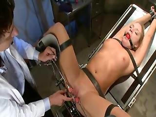 Aurora Snow Has Her Tunnels Toyed And Banged While Being Chained