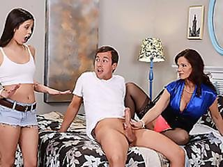 Mature Sexy Babes Lucy And Hot Milf Syren Gives Hunk Guy A Footjob