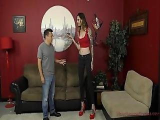 6 Foot 3 Rocky Emerson Dominates Her Short Roomate - Femdom And Ass Worship