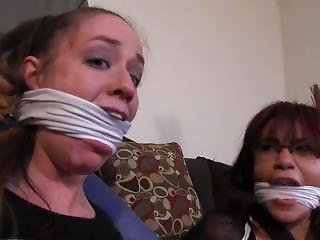 Bound, Gagged And Left Wriggling In Their Tights After