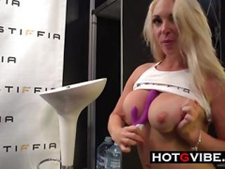 Blondie Getting Off In Public With Sex Toys