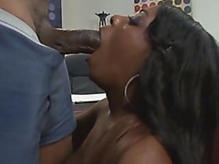 Busty Black Babe Banged On Table