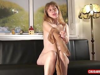 Elder Doris Dawn Is Posing Nude With Her Brown Pantyhose