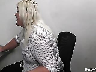 Bei Der Arbeit, Bbw, Grosse Titten, Blondine, Titte, Arsch, Ficken, Sekretärin, Arbeitsplatz