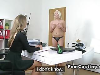 Female Agent Fucks Blonde With Dildo