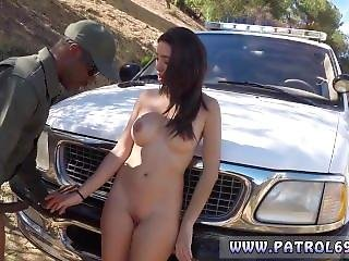 Police Pull Over And Ebony Police Strapon And Police Masturbation And