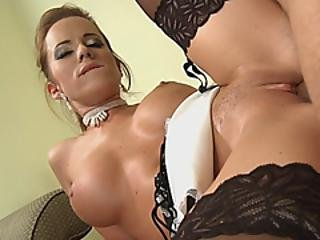 A Horny Dude Approaches Sexy Busty Maid And Bangs Her Wet Pussy As Hard As He Can