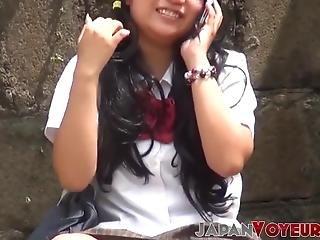 asiatisk, fetish, japansk, offentlig, skole, skjørt, uniform, voyeur
