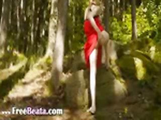 Glass Vibrator In Her Girly Hole In Forest