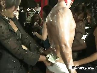 Open Mouth Brunette Chick At The Strip Club Sucking Dick