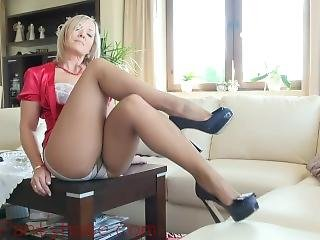 Ala In Red Blouse And Nude Pantyhose With White Satin Panties