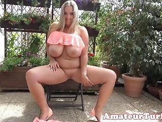 Busty Chubby German Solo Spreading Pink Pussy