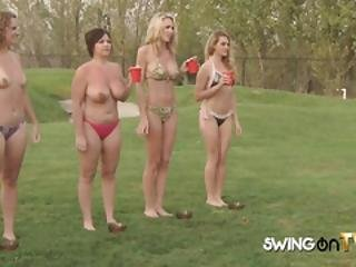 Experienced Swingers Play Games In The Garden