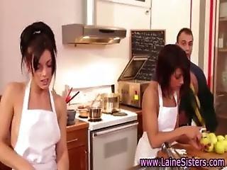 Lane sisters greedily sucking hard cock