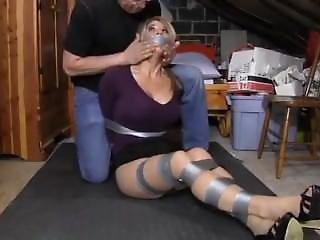 Big Boobs Blonde Carissa Abducted Taped Up