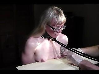 Nailing Her Tits To The Table