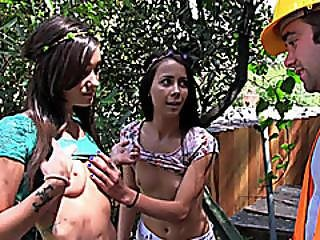 Two Tight Besties Hot Threesome Outdoors