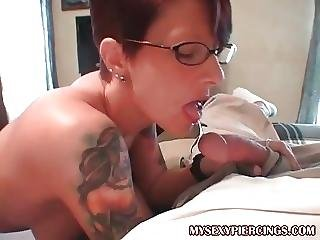 blasen, milf, pierced, sexy, lutschen, tätowierung
