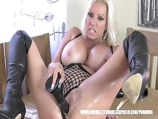Biker Babe Michelle Thorne Covered In Baby Oil Masturbates Big Dildo Toy