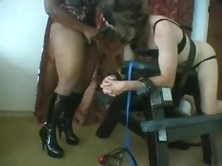 Male Slave In Bra And Panties Is Whipped And Fucked