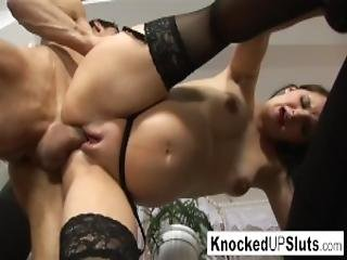Knocked Up Slut In Stockings Is Horny For Cock