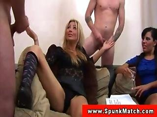 CFNM MILFs surrounded by jerking dudes