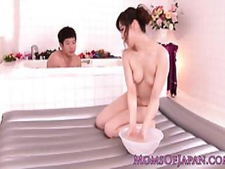 Japanese Milf Bodysliding In Bathroom