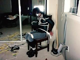 Cd Bondage - Crossdresser Tied To Chair