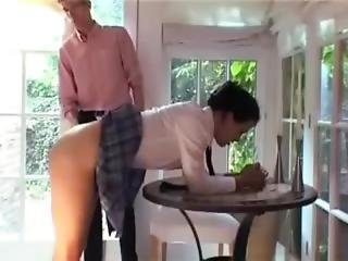 Schoolgirl Caned Over Table