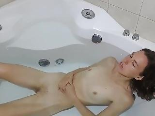 Skinny Brunette Rain Florence Shows Her Bush In Bath Tub
