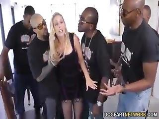 Slut Cherie Deville Takes Five Bbc In A Game Room Gangbang