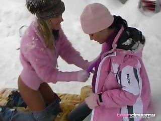 Lesbian Snow Bunnies Licking And Toying