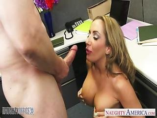 Blowjob, Brown Hair, Busty, Facial, Fishnet, Fucking, Hardcore, Lingerie, Naughty, Office, Oral, Rich, Tattoo