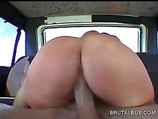 Sweet Ass Redhead Humping Shaft In The Bus