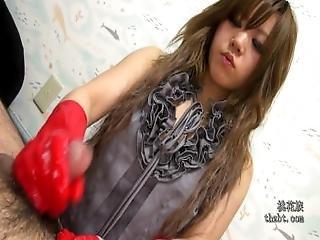 Asian Red Rubber Gloves Handjob