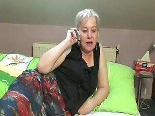 Nastyplace.org - Horny Granny Calls Up Her Lover So She Can Suck His Young Cock