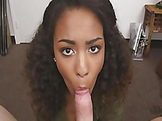 Amazing Ebony Babe Nicole Bexley Giving A Blowjob And Deepthroat To A Big Cock