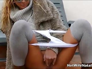 Nympho Milf Wife Peeing Outdoors On Balcony