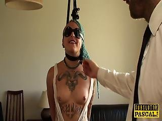 Tattooed British Slut Throat Fucked In Bdsm