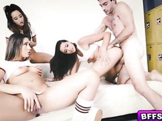 Flirty Students Foursome With Pe Instuctor