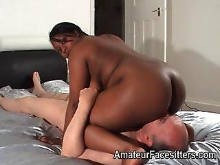 Thick Ebony Lady Facesits An Older Man