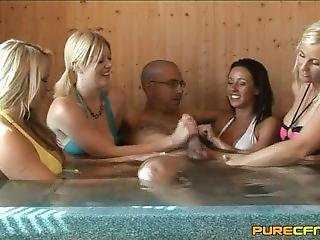 Blonde, Cumshot, Handjob, Jacuzzi, Reality