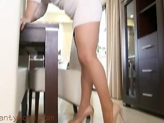 Ala In Cream Dress And Nude Fishnet Pantyhose