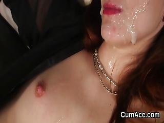 Wicked Stunner Gets Sperm Load On Her Face Gulping All The Juice