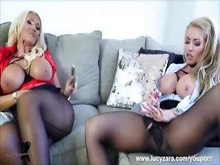 Filthy Blondes Lucy Zara And Lynda Leigh Toy Dildos Play With Their Wet Pussies In Sexy Nylon Pantyhose